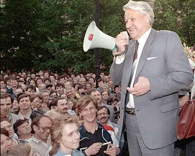 Boris Yeltsin addressing a mass rally in May 1989, during Gorbachev's perestroika