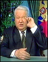 Boris Yeltsin shedding a tear during his resignation speech
